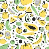 Картина нарисованная рукой безшовная с фруктами и овощами Еда иллюстрации вектора художническая Папапайя чертежа Vegan, тыква Стоковое Изображение