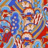 Картина нарисованная рукой безшовная с флористическими элементами Стоковое Изображение