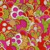 Картина нарисованная рукой безшовная с флористическими элементами Стоковое Изображение RF