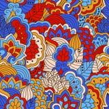 Картина нарисованная рукой безшовная с флористическими элементами Стоковая Фотография RF