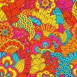 Картина нарисованная рукой безшовная с флористическими элементами Стоковые Фотографии RF