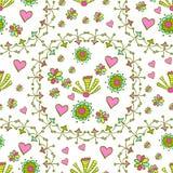 Картина нарисованная рукой безшовная с флористическими элементами Стоковая Фотография