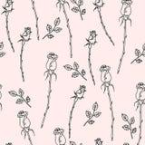 Картина нарисованная рукой безшовная с цветками Стоковое Изображение