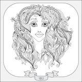 Картина нарисованная рукой для Virgo зодиака книжка-раскраски иллюстрация штока