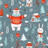 Картина нарисованного вручную растра праздника рождества зимы безшовная Включенный путь клиппирования стоковая фотография