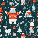 Картина нарисованного вручную растра праздника рождества зимы безшовная Включенный путь клиппирования стоковое изображение