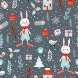 Картина нарисованного вручную растра праздника рождества зимы безшовная Включенный путь клиппирования стоковые фото