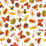 Картина насекомых безшовная Стоковые Фотографии RF