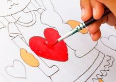 Картина на красном сердце Стоковое Изображение