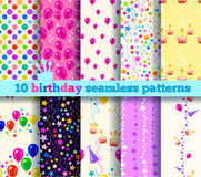 Картина 10 дней рождения безшовная Стоковые Изображения RF