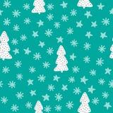 Картина Нового Года безшовная Рождественские елки, снежинки, звезды Эскиз, doodle, нарисованный вручную иллюстрация штока