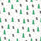 Картина Нового Года безшовная с рождественскими елками Нарисовано вручную иллюстрация штока