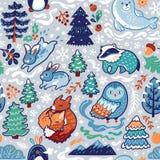 Картина Нового Года и рождества безшовная с декоративными животными и элементами леса иллюстрация вектора