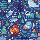 Картина Нового Года и рождества безшовная с декоративными животными и элементами леса в стиле мультфильма бесплатная иллюстрация