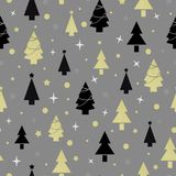 Картина Нового Года рождества безшовная с рождественской елкой Стоковая Фотография