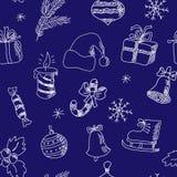 Картина Нового Года безшовная с элементами зимнего отдыха иллюстрация штока