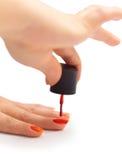 Картина ногтя с красным лаком Стоковые Фотографии RF