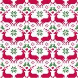 Картина нордического рождества безшовная с северным оленем и птицами Стоковые Изображения RF