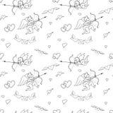 Картина дня валентинок безшовная в стиле doodle Стоковые Изображения
