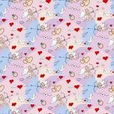 Картина дня валентинок безшовная в стиле doodle Стоковое Фото