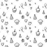 Картина дня рождения безшовная в стиле нарисованном рукой Стоковые Изображения RF