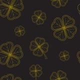 Картина дня ` s St. Patrick безшовная с клевером предложения золота выходит на черную предпосылку иллюстрация штока