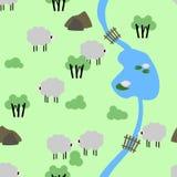 Картина овец фермы Деревенский вектор образа жизни иллюстрация штока