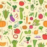 Картина овощей вектора Предпосылка овощей безшовная Стоковое Фото