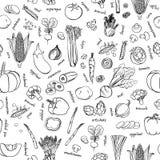 Картина овощей вектора Предпосылка овощей безшовная Стоковые Изображения RF