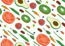 Картина овощей и плодоовощей Eco Vegan Superfood органическая сырцовых безшовная раскосная Плоское искусство вегетарианца вектора Стоковая Фотография