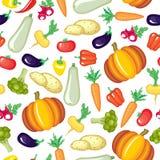 Картина овощей шаржа безшовная Стоковая Фотография