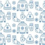 Картина одежд сезона зимы безшовная иллюстрация штока