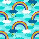 Картина дождя, снега и радуги Стоковое фото RF