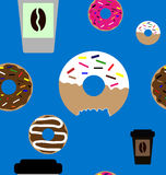 Картина донута и кофе безшовная Стоковое Изображение RF