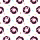 Картина донута черная и розовая сладостная безшовная Стоковые Фотографии RF
