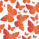 Картина оранжевой бабочки безшовная Предпосылка настроения лета также вектор иллюстрации притяжки corel Стоковая Фотография RF