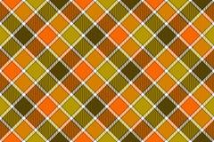 Картина оранжевой раскосной проверки зеленого цвета Брайна безшовная иллюстрация штока