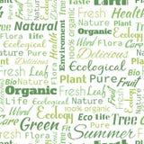 Картина органического или естественного слова текста безшовная, метафора к ecol иллюстрация вектора