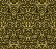 Картина орнамента арабескы золотая & черная предпосылки иллюстрация вектора