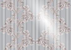 Картина орнамента вектора барочная бумага предпосылки старая Текстуры ткани винтажного оформления мягкие Стоковое Изображение RF