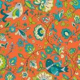 Картина орнамента птицы и цветка Безшовная флористическая текстура Стоковые Фото