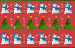 Картина орнамента снеговика зимы Стоковое фото RF