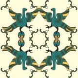 Картина орнаментального вектора безшовная с мифологическими птицами Стоковые Изображения