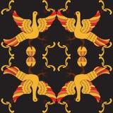 Картина орнаментального вектора безшовная с мифологическими птицами Стоковые Изображения RF