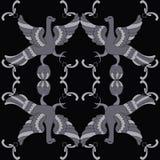 Картина орнаментального вектора безшовная с мифологическими птицами Стоковые Фото
