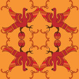 Картина орнаментального вектора безшовная с мифологическими птицами Стоковое Изображение RF