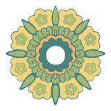 Картина орнаментального круглого цветка винтажная, цветок круга изолировала предпосылку Стоковое фото RF