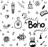 Картина орнаментальных элементов стиля Boho Стоковые Фотографии RF