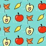 картина осени безшовная Предпосылка вектора с красными яблоками и кленовыми листами Стоковое Изображение RF