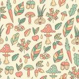 Картина осени безшовная с грибами Стоковая Фотография RF